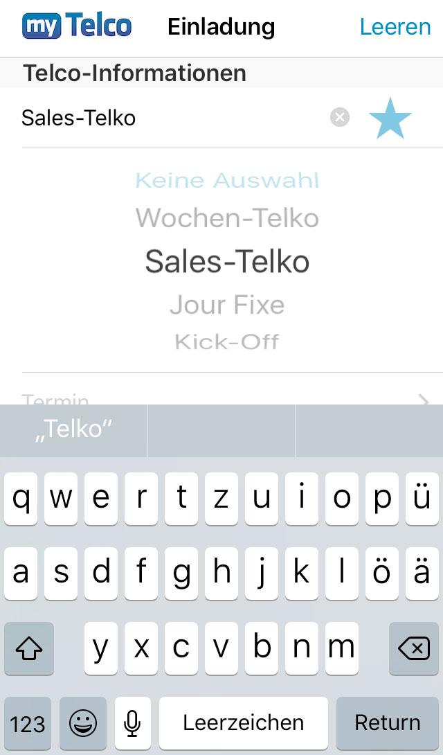 Screenshot myTelco App Gruppe