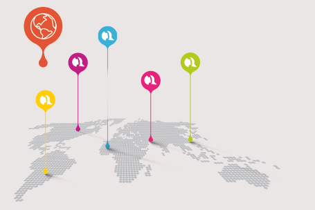 Weltkarte mit Telefon Icons - myTelco Free Rufnummern